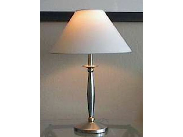 Silver Column Table Lamp