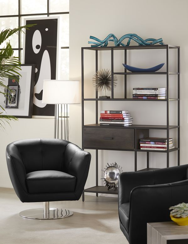 The Ancia Bookcase features a modern-industrial metal frame and rustic wood accents. This high-qu...