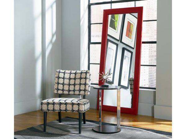 Delaney Faux Leather Red Mirror 1