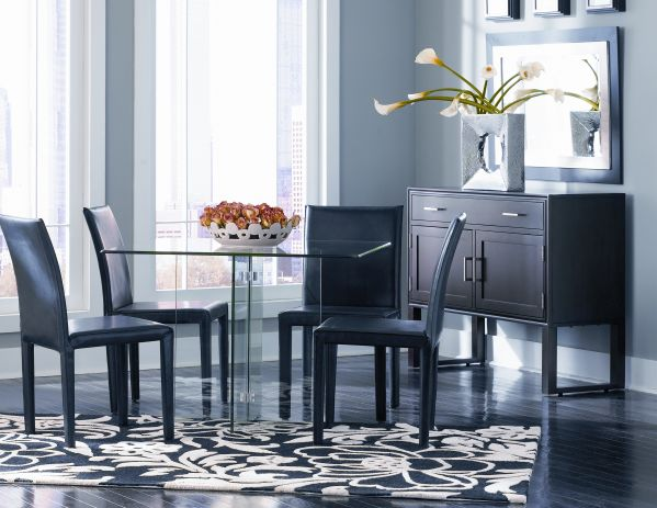 Glass on Glass Dining Room with Square Table