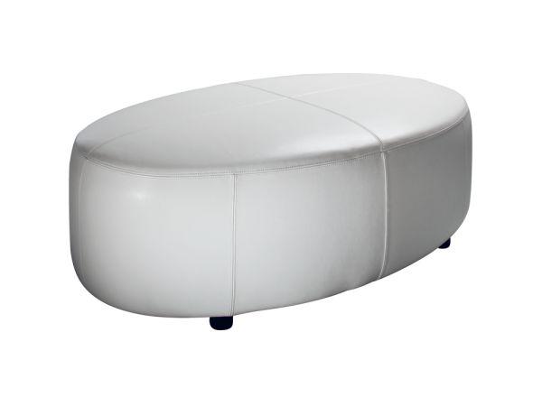 Oval White Ottoman