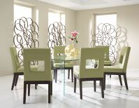 Glass on Glass Rectangle Dining Room with 6 Belina Chairs Image 1