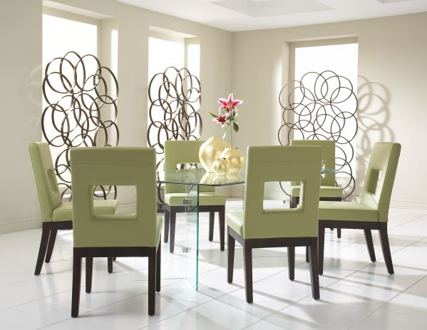 Glass on Glass Rectangle Dining Room with 6 Belina Chairs