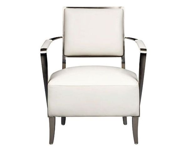 Oscar Accent Chair White Leather 1