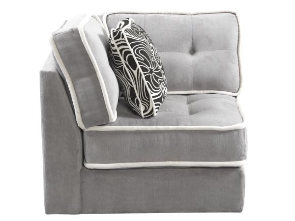 Armless Lounge Corner Chair Gray