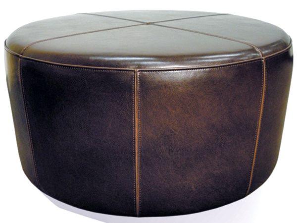 Brown Leather Wheel Ottoman 1