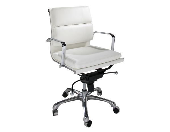 Blanco White Leather Executive Chair 1