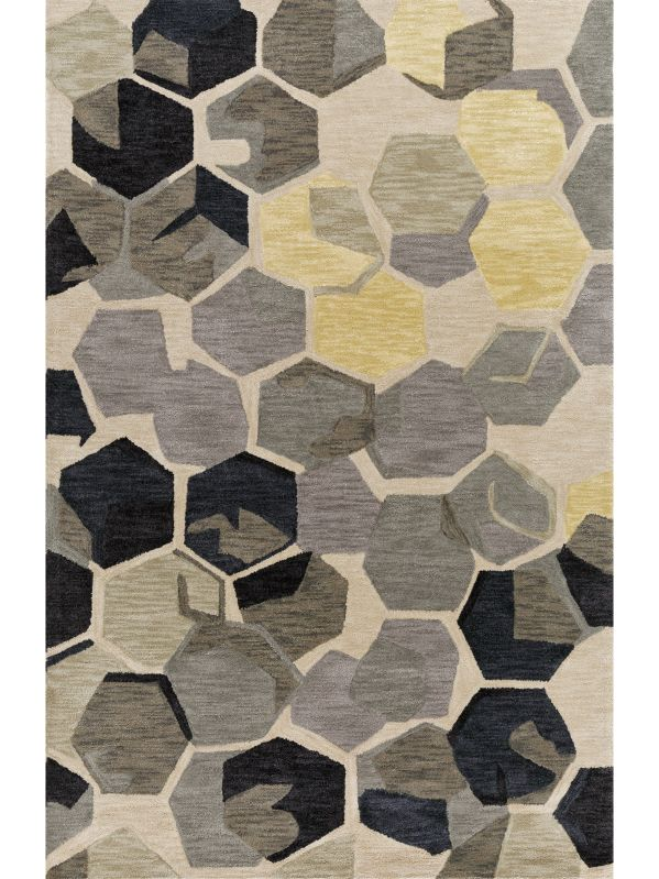 Cabochon Area Rug Grey and Yellow