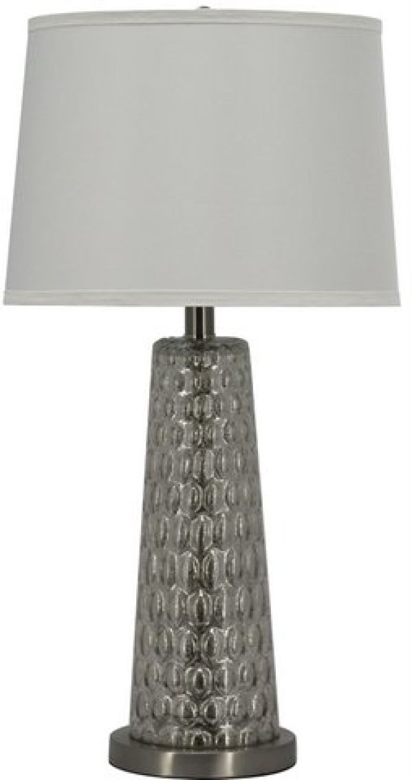 Table Lamp Silver Dimpled Glass