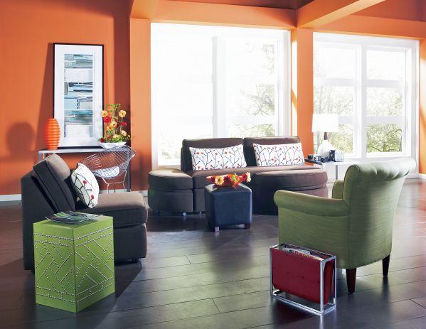 Connection 4 Pc Set Armless Sofa Chair & 2 Ottomans