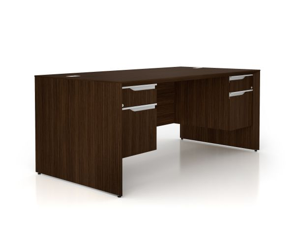 Nex Dark Chocolate Double Ped Exec Desk