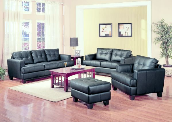 Samuel Black Leather Sofa 1