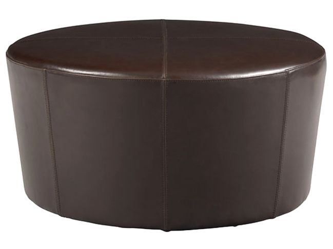 Cort Clearance Furniture Ottoman Round Brown Leather Wheel From