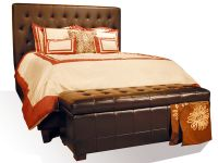 Drake Queen Chocolate Leather Headboard Image 634