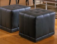 Black Leather Cube Ottoman Image 17