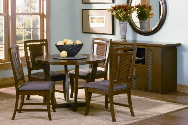 Mandalay Round Dining Room Table with 4 Mandalay Chairs