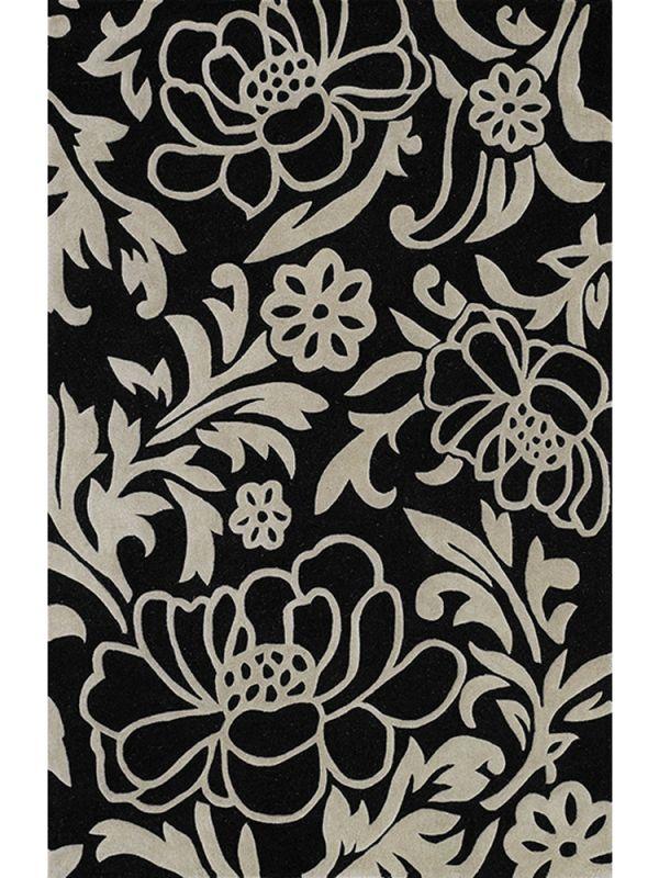 Structures Black and White Area Rug
