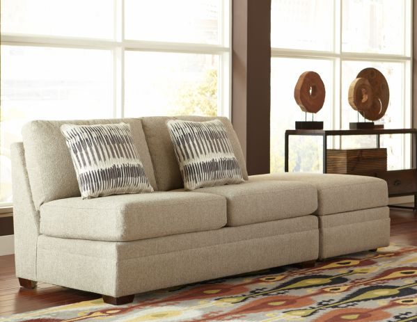 Ballard Armless Loveseat with Flip Top Storage Ottoman