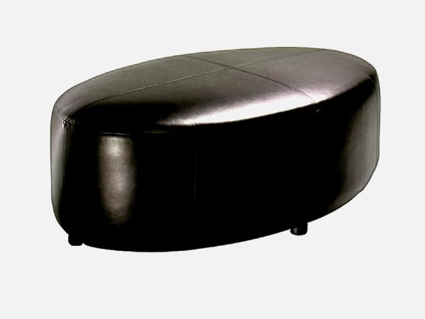Black Leather Oval Ottoman