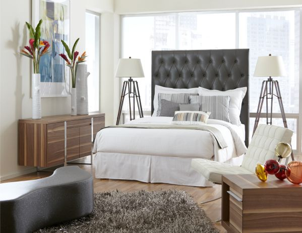 Blair Grey Leather Queen Headboard