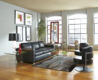 The contemporary Carlo II Sleeper sofa features tone on tone black leather cushion... Image 60