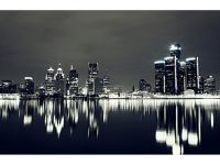 Detroit Night Skyline Wall Art Image 5