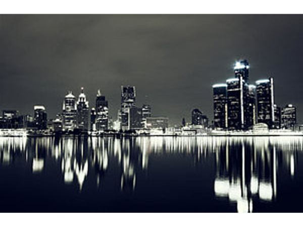 Detroit Night Skyline Wall Art 1