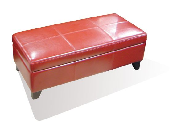 Red Leather Trunk Storage Ottoman 1