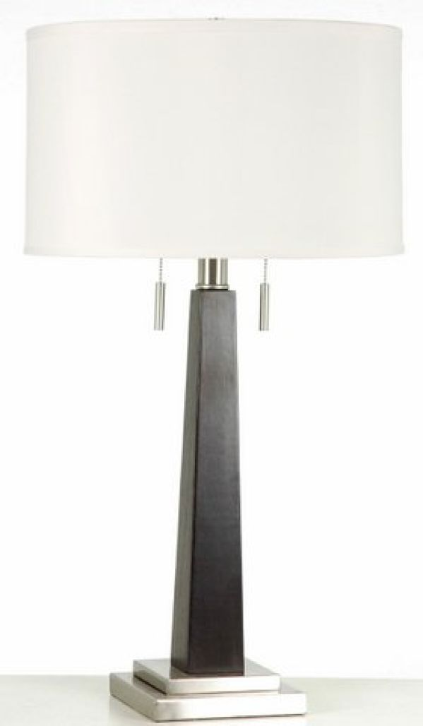 Wood Column Table Lamp