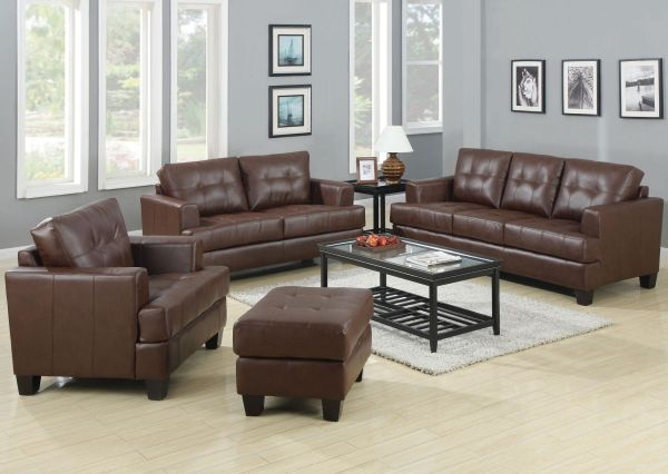 Samuel Brown Leather Sofa