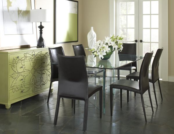 Glass on Glass Rectangle Dining Room with 4 Glide Chairs