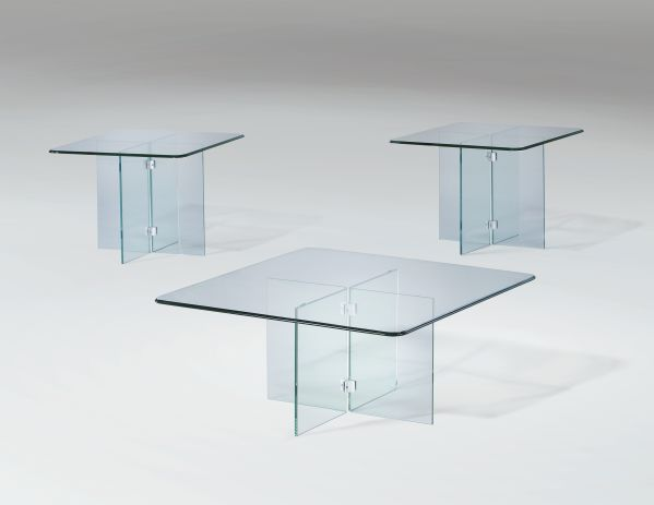 Glass on Glass Cocktail Table & 2 End Tables 1