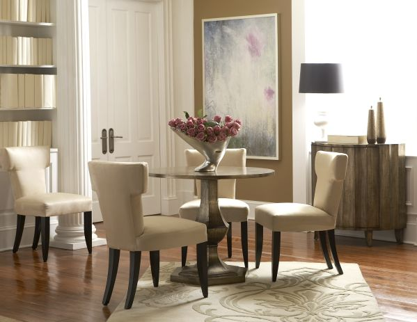 Gold Tone Round Dining Room with 4 Chairs
