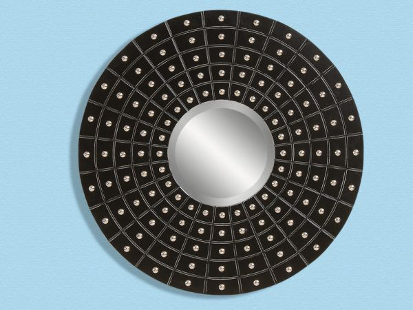 Black and Silver Round Mirror