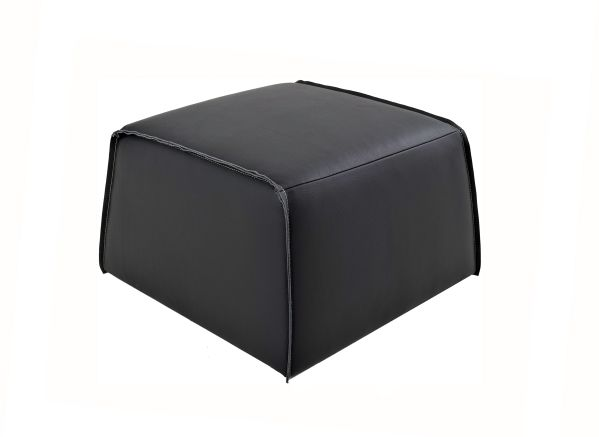 Geary Leather Ottoman Dark Grey
