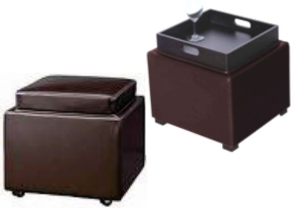 Butler Flip Top Black Leather Ottoman