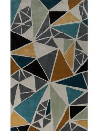 Cosmopolitan Teal and Gold Area Rug