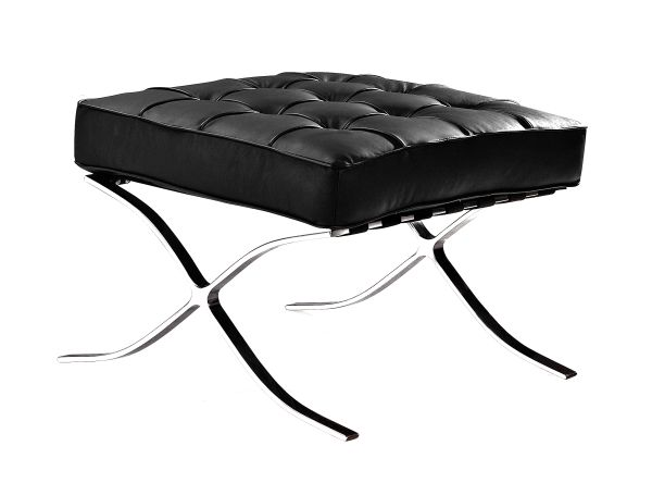 Marco Black Leather Ottoman